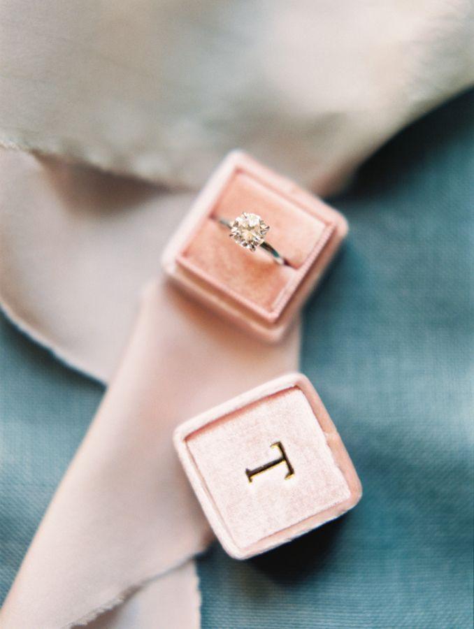 Simplistic circle-cut diamond ring in blush pink initialed ring box: www.styleme...