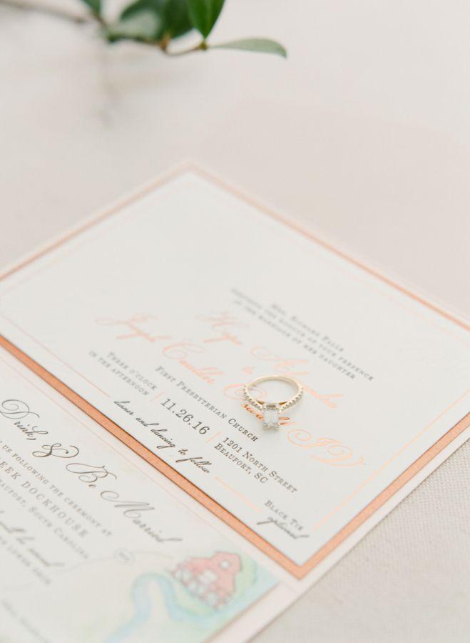 Simply elegant gold emerald-cut diamond ring: www.stylemepretty... Photography: ...