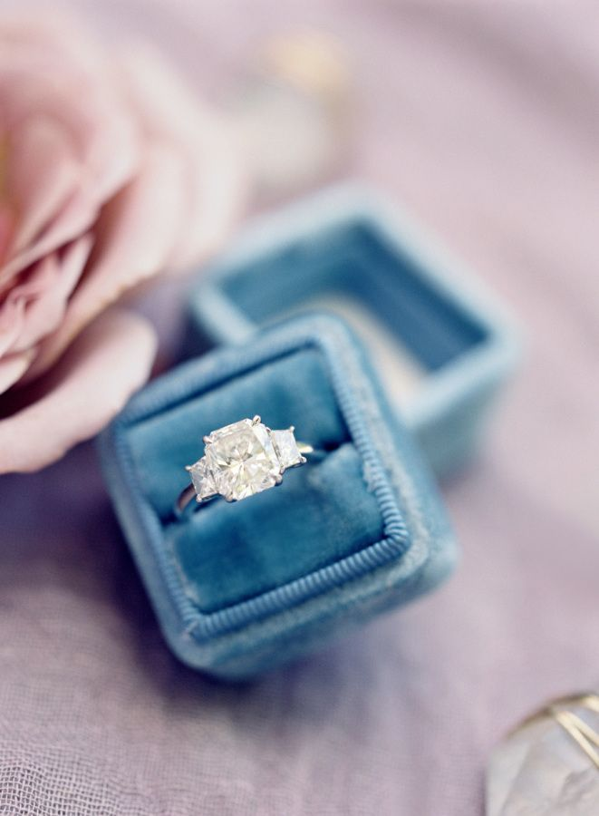 Stunning three-stone engagement ring: www.stylemepretty... | Photography: Jose V...