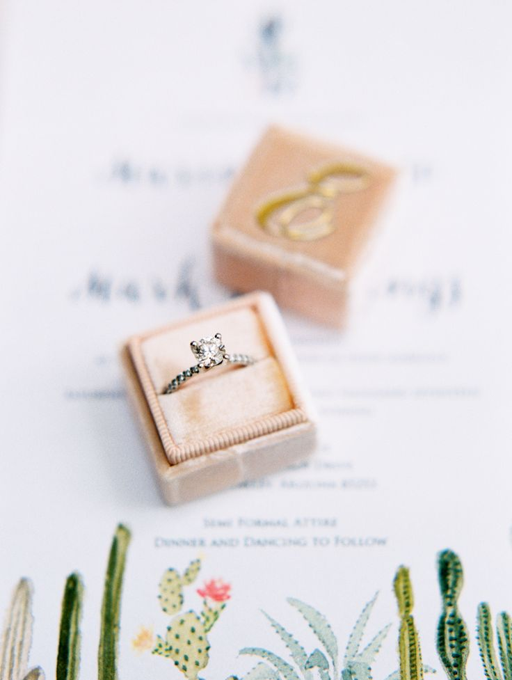 Stunning diamond ring: Invitations: Paperless Post - www.stylemepretty... Gown: ...