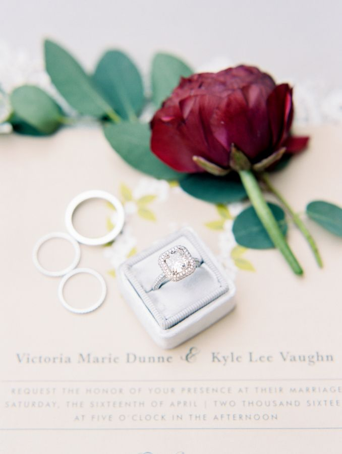 Stunning princess-cut diamond ring with a halo: www.stylemepretty... Photography...