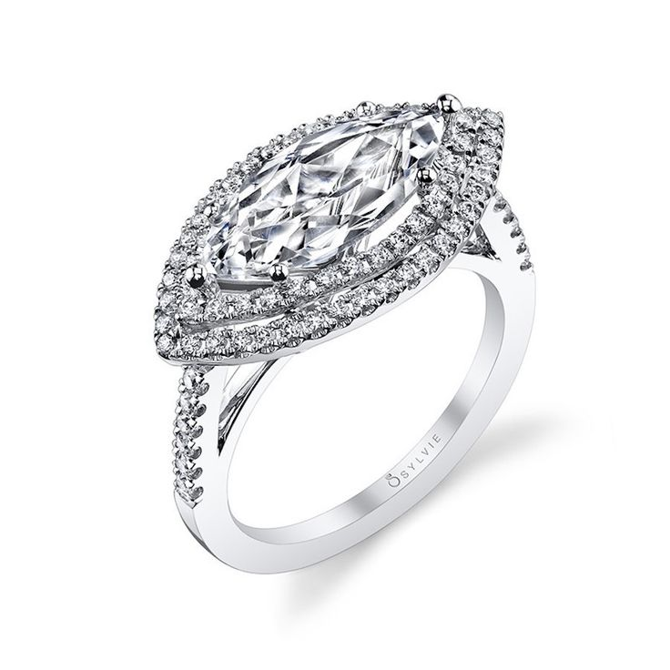 Sylvie Collection Modern Romantic Double-Halo Marquise Diamond Engagement Ring: ...