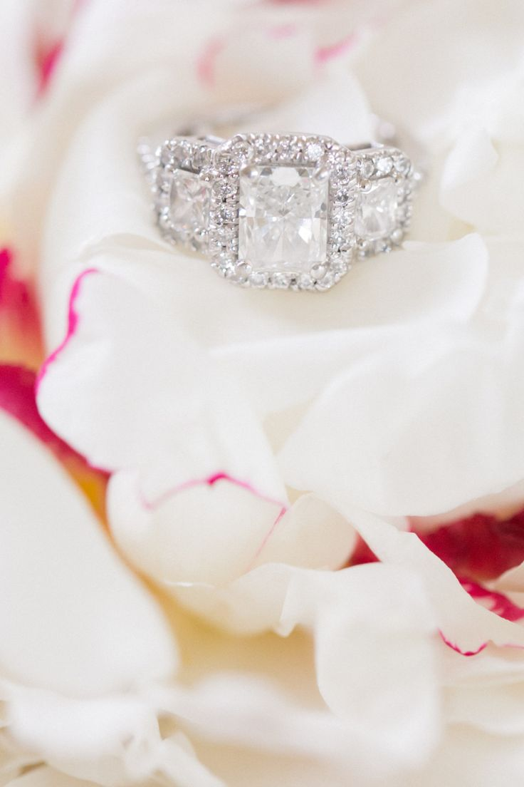 Three diamond emerald-cut engagement ring: Cake: The Pastry Garden - www.styleme...