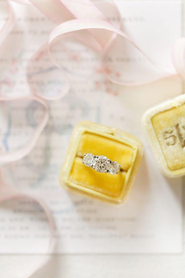 Three stone circle-cut engagement ring: www.stylemepretty... Photography: Mariel...