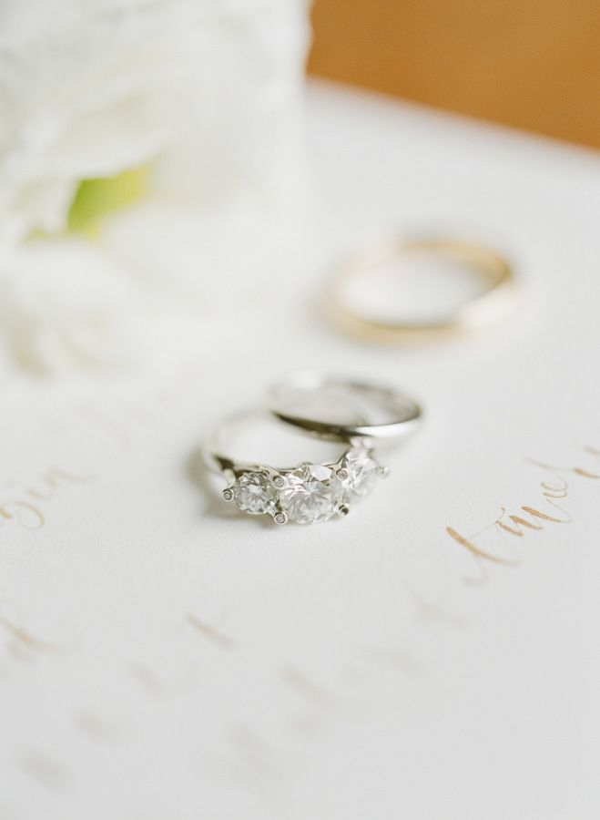 Triple diamond ring: www.stylemepretty... Photography: Greg Finck - www.gregfinc...