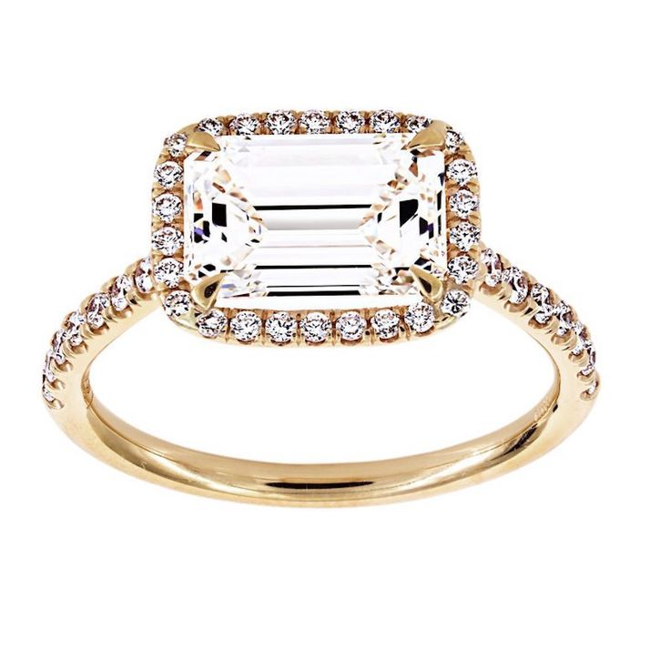 TWO By London East-West Emerald Cut Diamond Halo Engagement Ring: www.stylemepre...