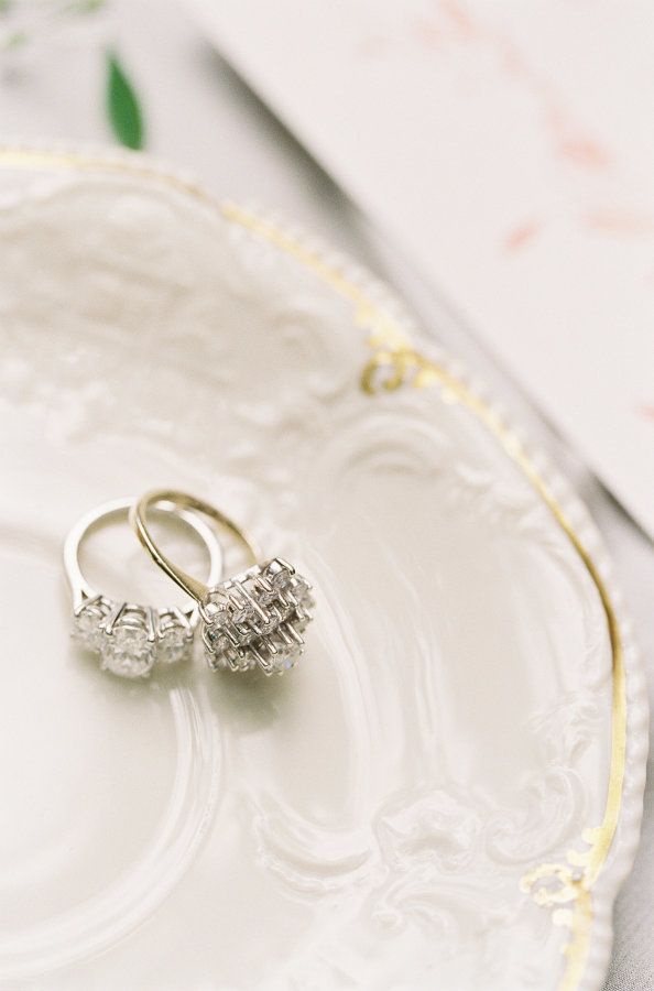 Two diamond rings that are stunners: www.stylemepretty... Photography: Michael a...
