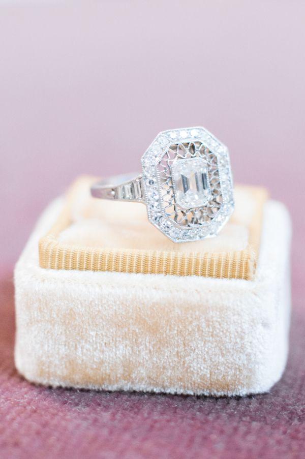 Unique elegant cushion-cut diamond ring: www.stylemepretty...