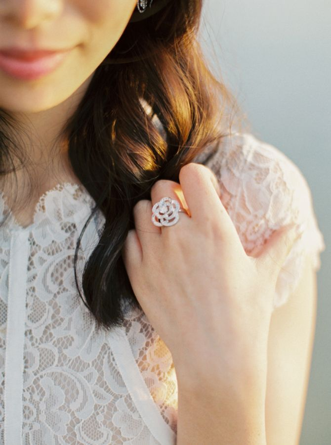 Unique flower petal diamond ring: www.stylemepretty... Photography: Matoli Keely...
