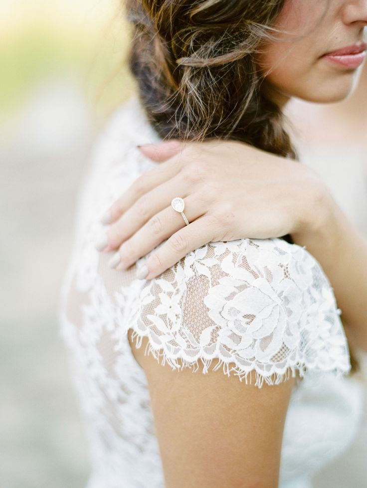 Unique side turned pear-cut engagement ring: Photography: Untamed Heart Photogra...