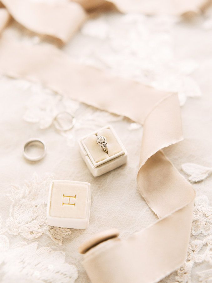 Vintage diamond ring in a cream box by The Mrs. Box: www.stylemepretty... Photog...