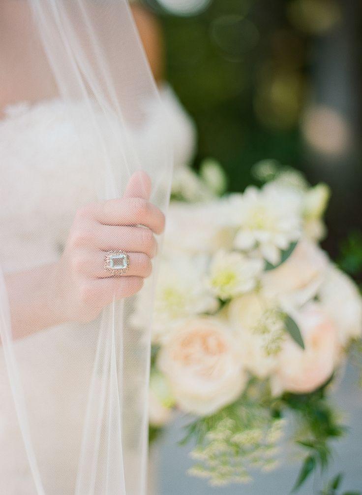 Vintage emerald-cut engagement ring: Elegant Rustic Wedding with Rose Gold Detai...