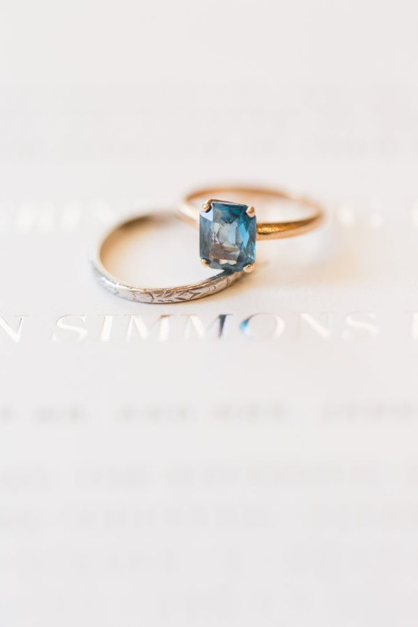 Vintage gold band and topaz engagement ring: www.stylemepretty... Photography: K...
