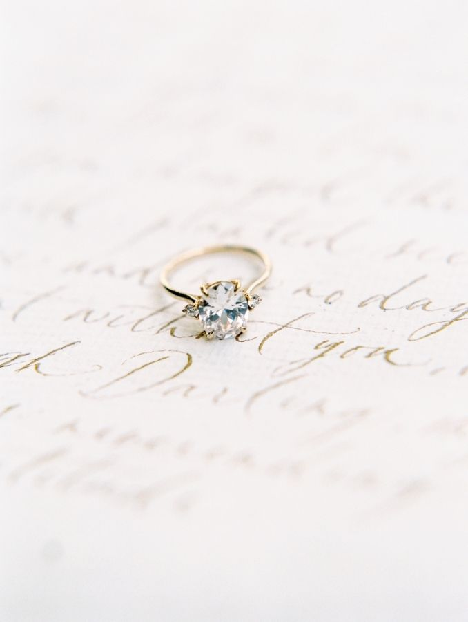 Vintage gold band engagement ring: www.stylemepretty... Photography: Esmeralda F...
