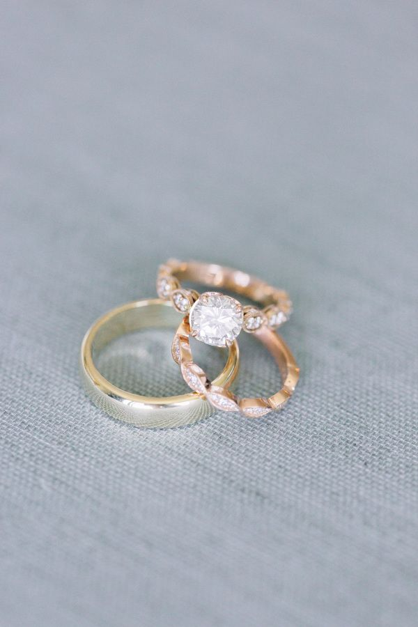Vintage gold band engagement ring: www.stylemepretty... Photography: Kristina Ad...