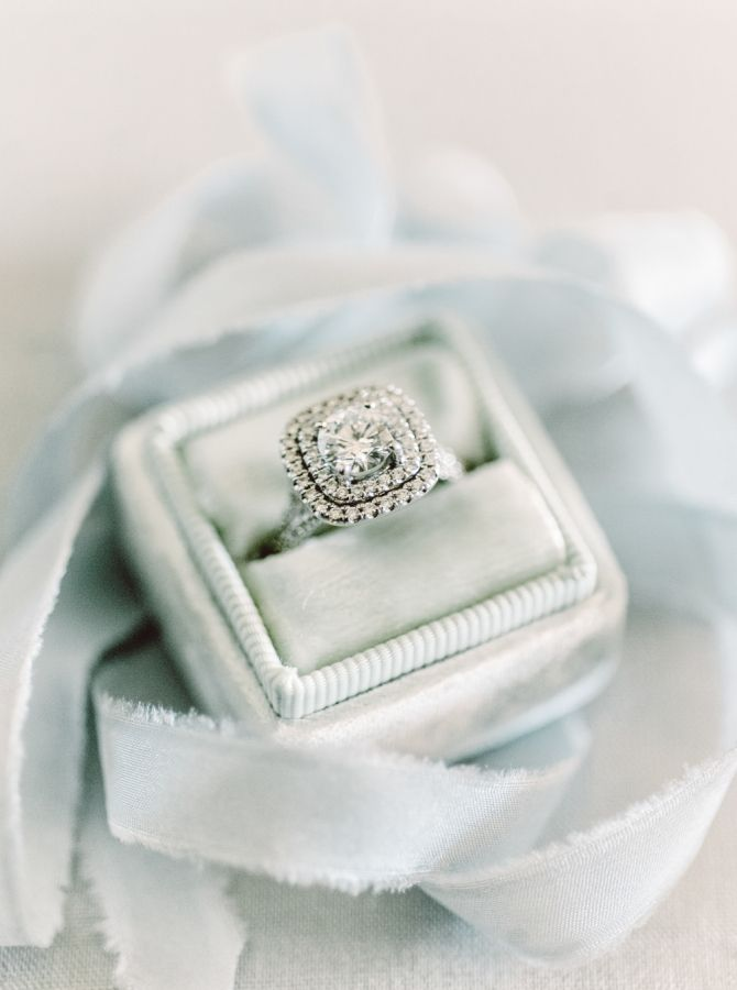 Vintage inspired double halo engagement ring: www.stylemepretty... Photography: ...