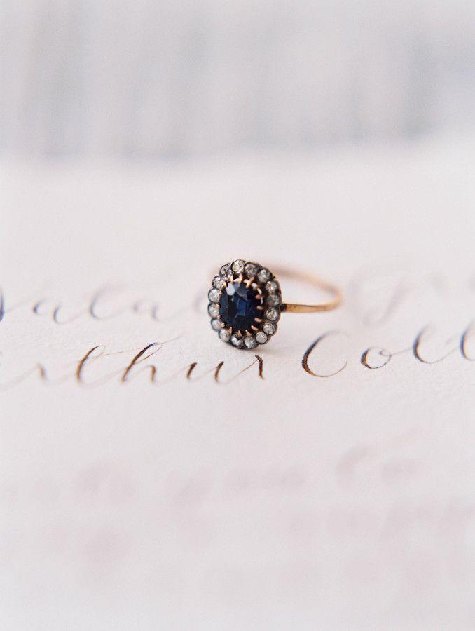 Vintage navy stone engagement ring: www.stylemepretty... Photography: Sara Weir ...