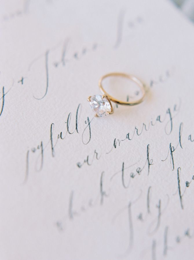 Vintage simple gold band diamond ring: www.stylemepretty... Photography: Katie G...