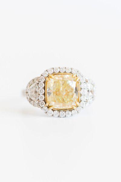 Yellow diamond ring in halo setting: www.stylemepretty... Photography: Alyssa Ro...