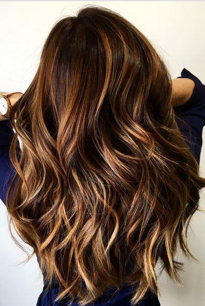 Blonde and Cinnamon Balayage for Chocolate Brown Hair