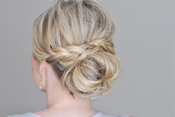 A braid kicks up the everyday messy bun by a notch. Click on the photo for easy ...