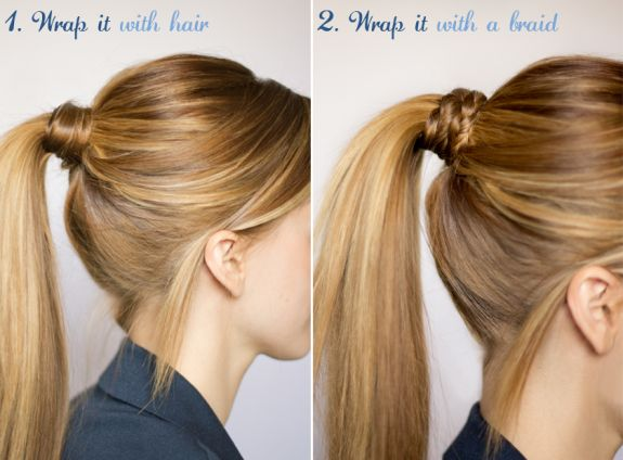 A classic way to dress up a ponytail: wrap hair (or even a braid) around the rub...