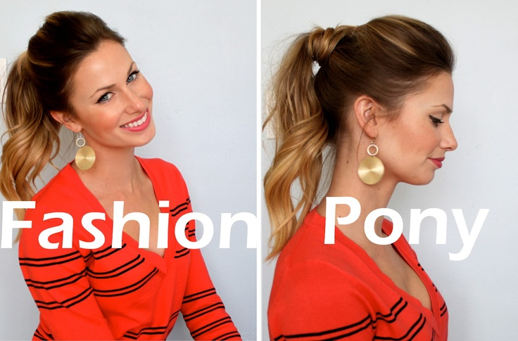 Another take on the wrapped ponytail, this one with a bit of curl. There's a...