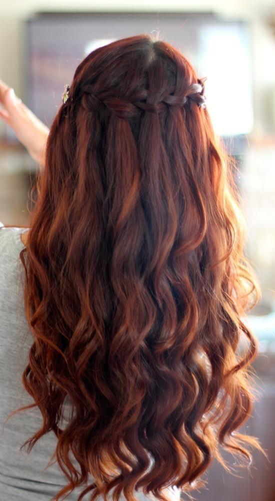 Auburn waterfall Braid...I want this to be my wedding hair-do. (: Matches my hai...