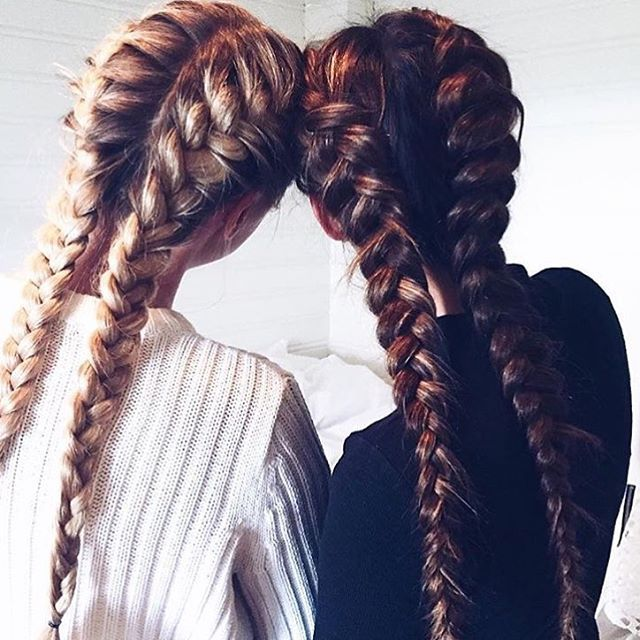 Best friends that stay together, slay together. Loving these bestie braids!! #fr...