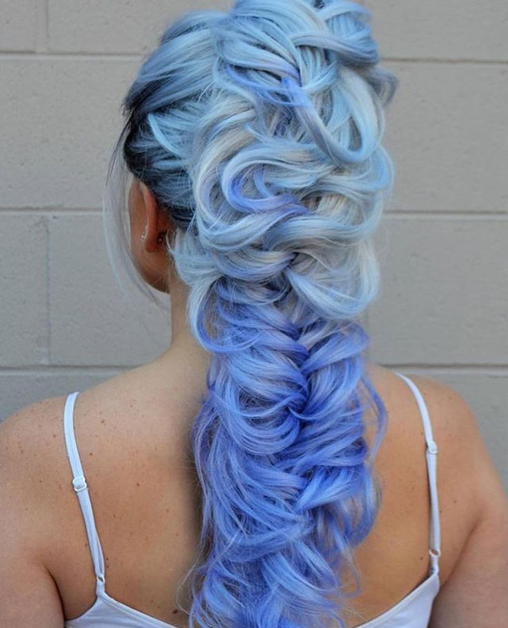 Blonde to blue to periwinkle braided style by amanda kerley  #hotonbeauty . . ....