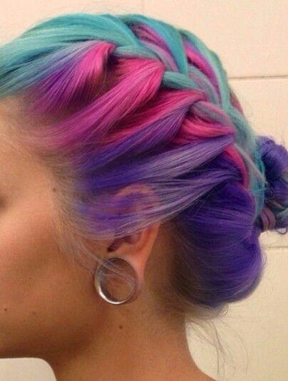 Blue pink purple braided dyed hair @manicpanicnyc...