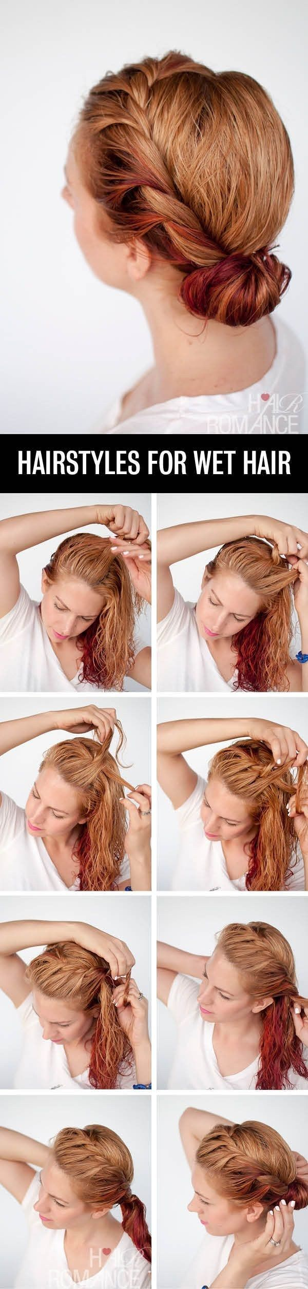 Crown braid wet hair and roll it into a bun. | Hairstyle You Can Do In Less Than...