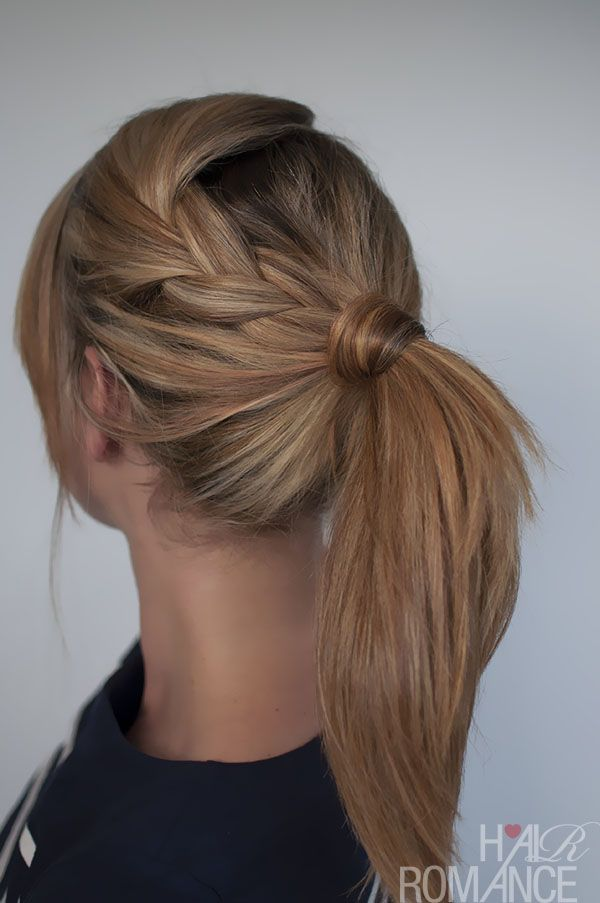 Dress up a ponytail with a braid. Click on the photo for the steps from Hair Rom...