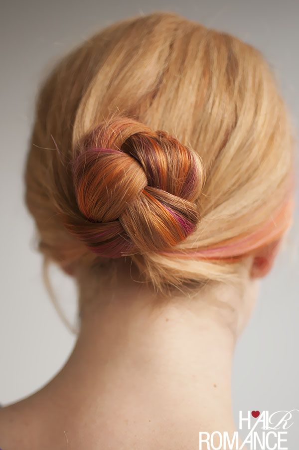 Easy braided bun. Click on the photo for the how-tos.