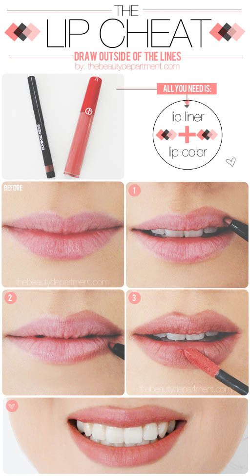 From thebeautydepartme...: how to make your lips look bigger.