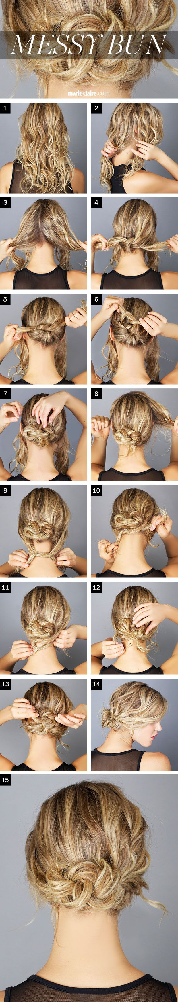 Hair How-To: The Messy Knot Bun (click for step by step instructions) --- if you...