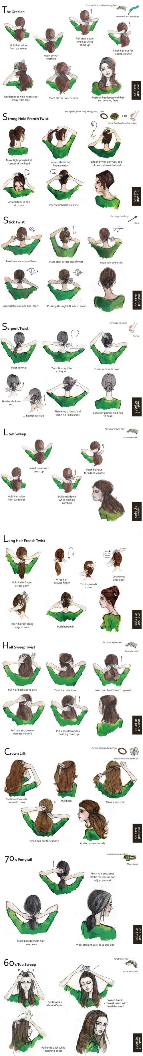 Have you seen these terrific hairstyle illustrations? All from Colette Malouf, w...