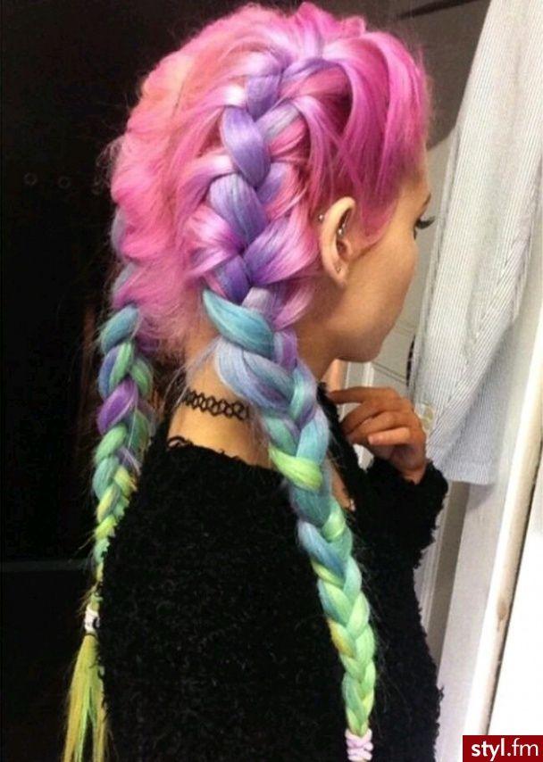 Hair Styles 2017 2018 Kolorowe Warkocze Proste Na Co
