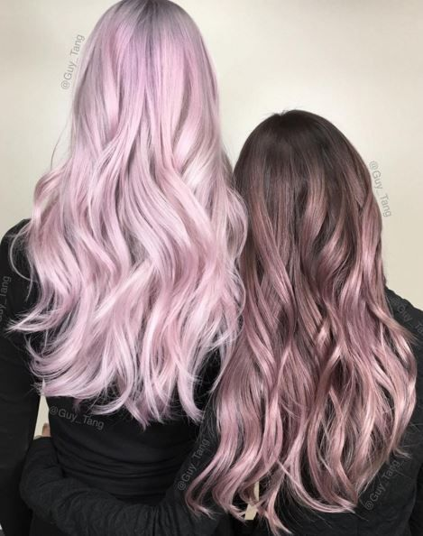 (Left) Light Pink Pastel Hair & (Right) Brown to Light Pink Ombre Hair♡ #Hairs...