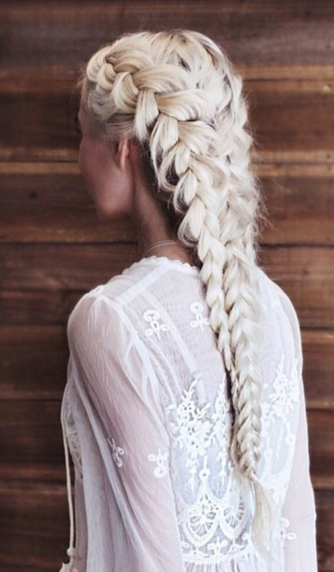 Stunning blond long braid