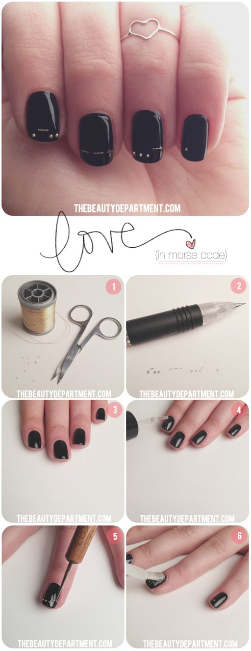 Love in Morse Code. On your nails. Happy Valentine's Day!
