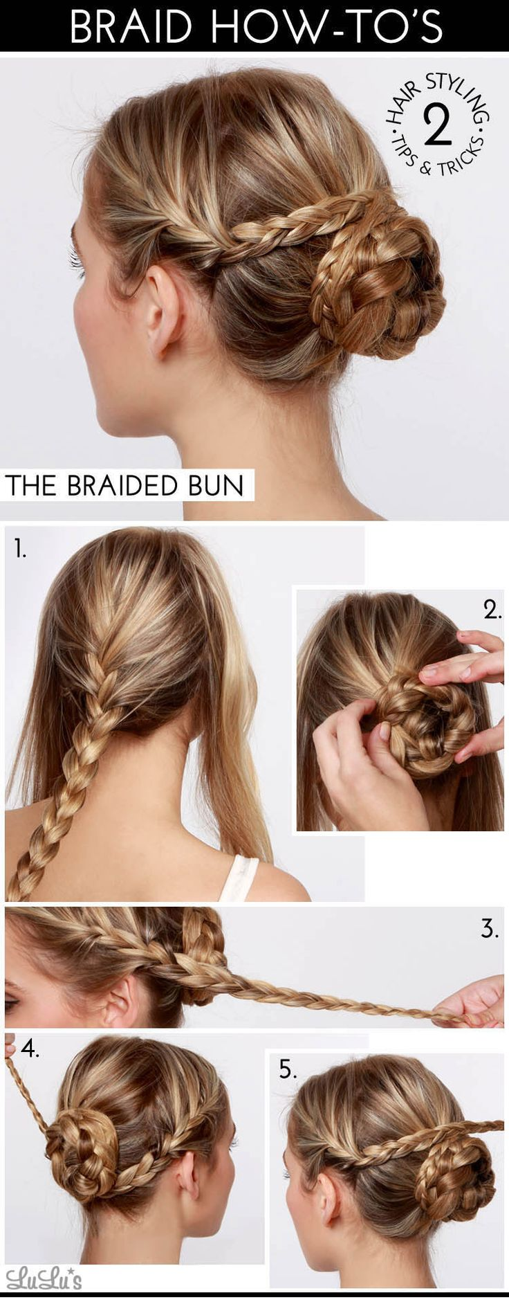 Lovely braided bun. Click on the photo for a better look at the how-tos.
