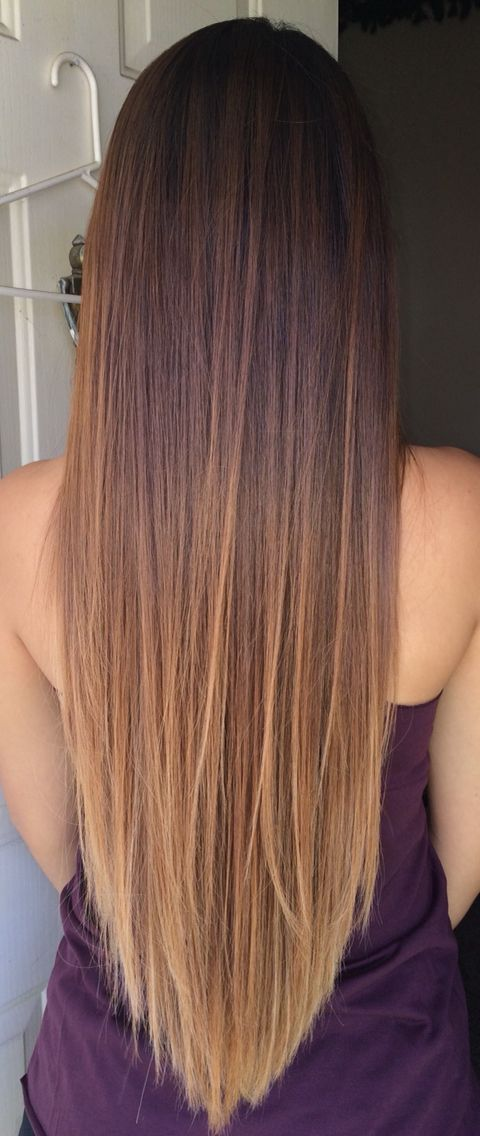Ombre hair. Started with peekaboo highlights. Perfect graduation from dark to li...