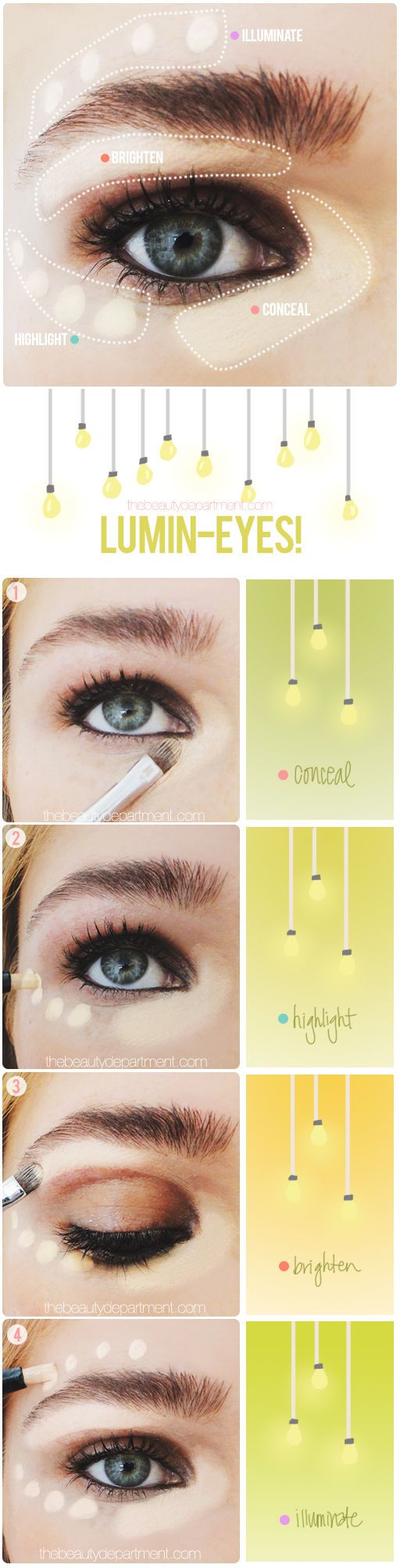 Own highlighter and concealer? Here's how to use them to brighten your eyes....