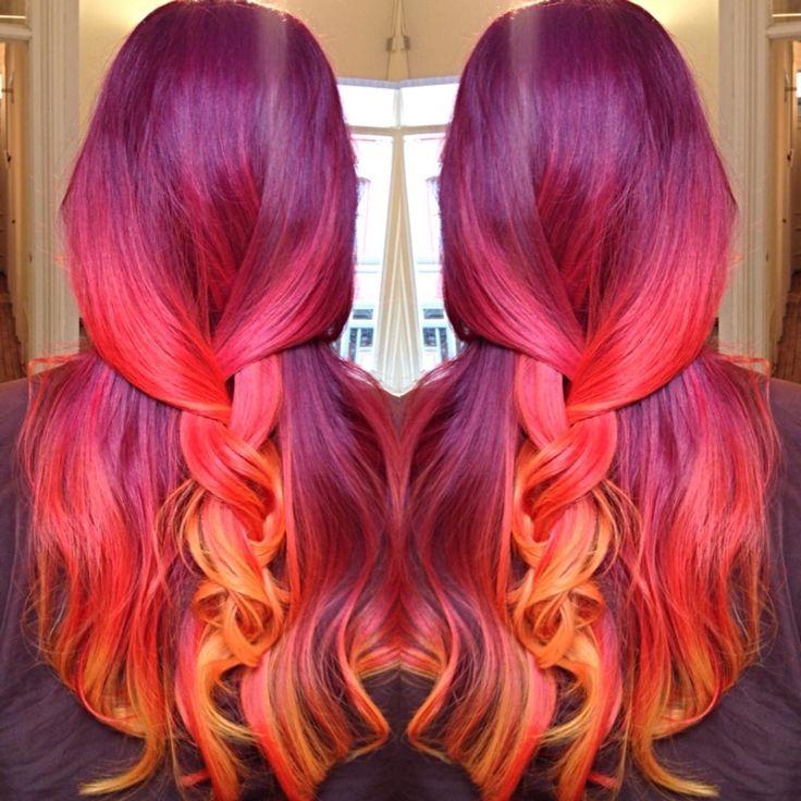 Phoenix hair!  wine plum to red plum to  peach to yellow orange!  sunset mermaid...