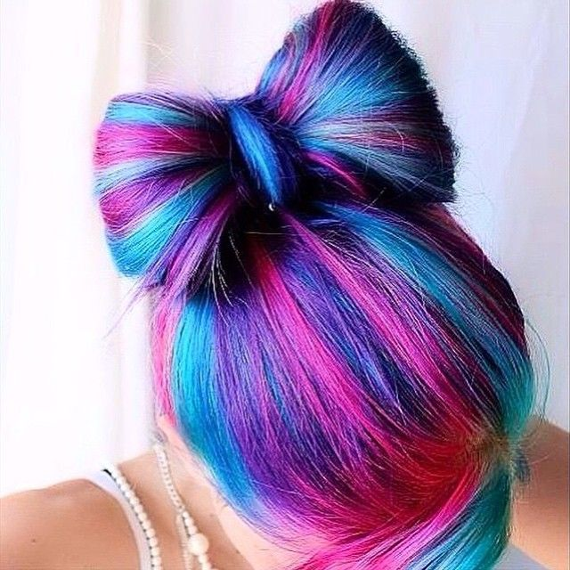 Pink and different shades of blue and purple. Dyed hair. Color. Colour. Now hair...
