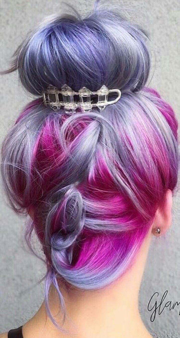 Purple fuchsia Pink dyed hair updo @pulpriothair