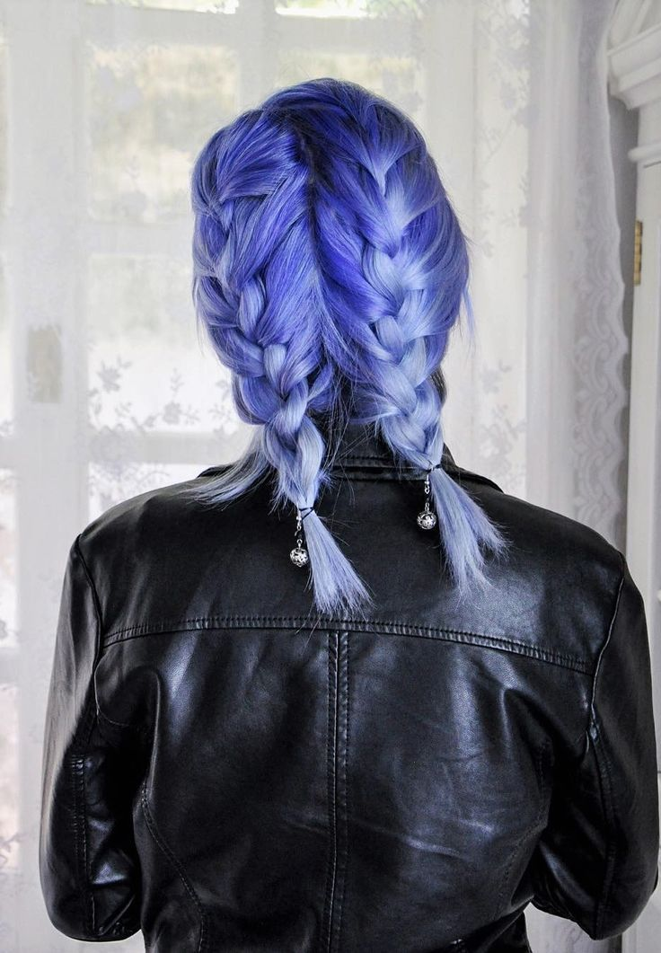 Purplish blue hair with double dutch braid pig tails hairstyle by jessica_dueck...