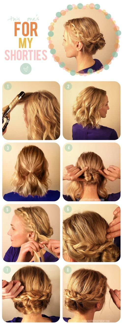 short hair updo would look sweet to have the braids tie into bun =) still awesom...