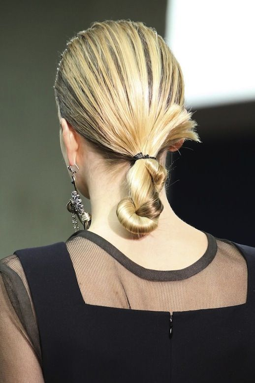 Straight and sleek: An easy low, twisted chignon on the Celine F/W 2014 runway....